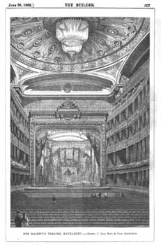 Details of the new (third) theatre as published in the 26th June 1869 edition of <i>The Builder</i> (2.9MB PDF)