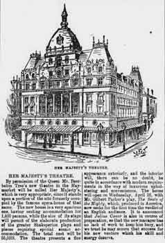 "Announcement of the new theatre to take the name of ""Her Majesty's"" by permission of the Queen, as printed in the 18th April 1897 edition of <i>Lloyd's Weekly Newspaper</i> (300KB PDF)"