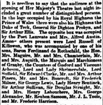 Summary of the guests in attendance of the opening of the theatre as printed in the 29th April 1897 edition of <i>The Daily Telegraph</i> (210KB PDF)