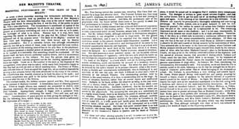 Review of opening night, as printed in the 29th April 1897 edition of <i>The St James's Gazette</i> (1.2MB PDF)