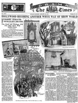 Preview of the Hollywood Playhouse and Vine St Theatre as printed in the 16th January 1927 edition of the <i>Los Angeles Times</i> (1.2MB PDF)