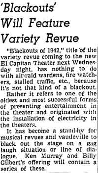 A description of the new variety show which Ken Murray will bring to the theatre, as printed in the 17th June 1942 edition of the <i>Los Angeles Times</i> (225KB PDF)