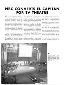 4-page article printed in the TV/Radio industry journal <i>RCA Broadcast News</i> of May/June 1952, covering NBC's updates to the theatre for its use as a television theatre (2.5MB PDF)