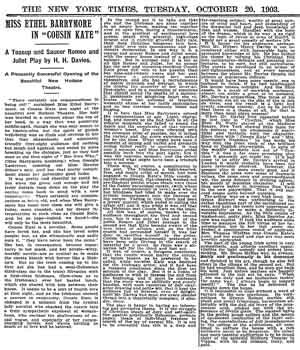 Review of the opening night, as printed in the 20th October 1903 edition of the <i>New York Times</i> (260KB PDF)
