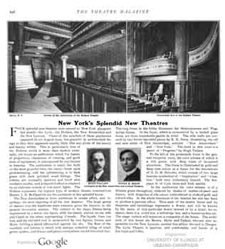 Review of the Theatre (alongside the Lyric, New Amsterdam, and New Lyceum) as published in the December 1903 edition of <i>The Theatre Magazine</i>, held by the University of Illinois at Urbana-Champaign and digitized by Google (1.2MB PDF)