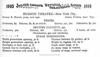 Information about the Hudson Theatre as presented in <i>Julius Cahn's Official Theatrical Guide (Volume 10, 1905-1906)</i>, held by the Smithsonian Libraries and digitized by the Internet Archive (180KB PDF)