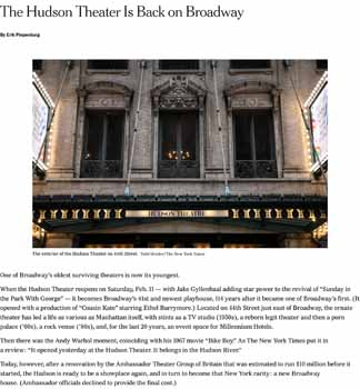 The <i>New York Times</i> reports on the theatre's history, restoration, and reopening, in early February 2017 (630KB PDF)