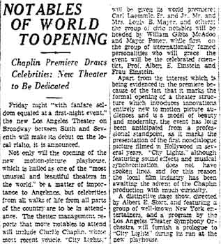 News of the theatre's opening festivities as printed in the 25th January 1931 edition of the <i>Los Angeles Times</i> (250KB PDF)