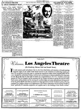 News of the theatre's opening the following night, as printed in the 29th January 1931 edition of the <i>Los Angeles Times</i> (2.3MB PDF)