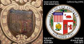 Seal of the City of Los Angeles located within the shield device above the center of the proscenium arch, with the 1931 city seal shown in diagram form to the right (JPG)