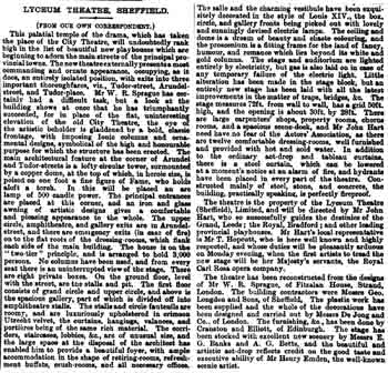 Review of the recently-opened theatre as printed in the 9th October 1897 edition of <i>The ERA</i>, digitized by the British Newspaper Archive (430KB PDF)
