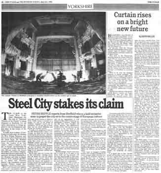 Preview of the theatre's renovation as printed in the 8th March 1990 edition of <i>The Stage</i> (1MB PDF)