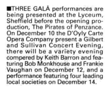 Preview of the theatre's three gala opening performances as printed in the 8th November 1990 edition of <i>The Stage</i> (130KB PDF)