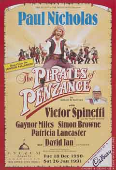 "Poster for the official re-opening production of ""The Pirates of Penzance"""