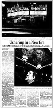 Feature on the theatre's reopening, as printed in the 5th January 2001 edition of the <i>Los Angeles Times</i> (400KB PDF)