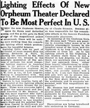 Report on the lighting scheme for the Orpheum Theater from the 30th December 1928 edition of <i>The Arizona Republican</i>, digitized by Newspapers.com (1.1MB PDF)