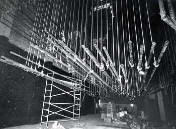 Hemp linesets seen from Stage Right; date unknown but between 1968 and 1991 - courtesy Orpheum Theatre crew / IATSE Local 336 (JPG)