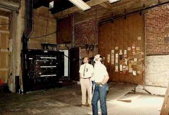 Downstage Right showing original electric switchboard and Loading Door; date unknown but between 1968 and 1991 - courtesy Orpheum Theatre crew / IATSE Local 336 (JPG)