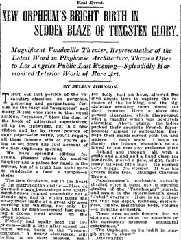 Review of opening night as printed in the 27 June 1911 edition of the <i>Los Angeles Times</i> (2.5MB PDF)