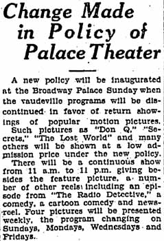14th July 1926 article from the <i>Los Angeles Times</i> announcing the new movies-only policy at the Broadway Palace (220KB PDF)
