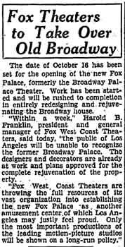 Announcement in the 18th September 1929 edition of the <i>Los Angeles Times</i> intimating the Fox Theaters West Coast takeover of the theatre (275KB PDF)