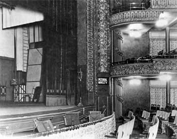 Auditorium and Stage in 1929, note the annunciator on the Proscenium. Courtesy Los Angeles Public Library (JPG)