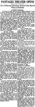 Review of the theatre's opening night as printed in the 6th June 1930 edition of the <i>Los Angeles Times</i> (150KB PDF)