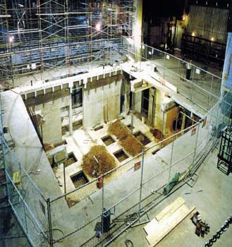 "Renovations in 1999-2000 by Nederlander included excavating a 40ft by 40ft pit under the stage to house stage machinery for the forthcoming production of Disney's ""The Lion King"" (JPG)"