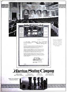 "American Seating Company advertisement featuring the Pasadena Playhouse from ""Moving Picture News"" dated 23 January 1926 – with thanks to Bob Foreman (630KB PDF)"