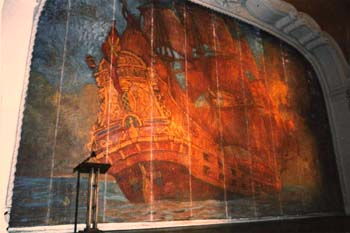 Undated photo of the theatre's original fire curtain dating from 1925 (JPG)