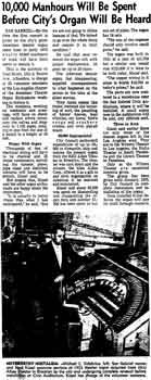 News of the theatre organ's rehabilitation as printed in the 2nd January 1969 edition of the <i>Los Angeles Times</i> (1.5MB PDF)