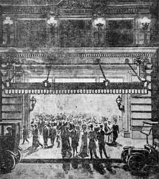 The original theatre marquee dating from 1912, from an illustration published in the <i>San Diego Union</i> of 24th August 1912 (JPG)