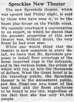 Review of the theatre's opening as published in the 28th August 1912 edition of the <i>Coronado Eagle and Journal</i> (470 KB PDF)