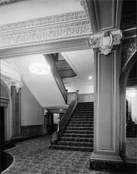Lobby photo of the Spreckels Theatre from the 1966 Historic American Buildings Survey (JPG)