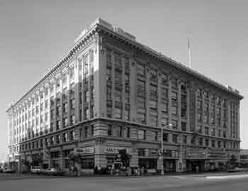 Exterior photo of the Spreckels Theatre Building from the 1966 Historic American Buildings Survey (JPG)