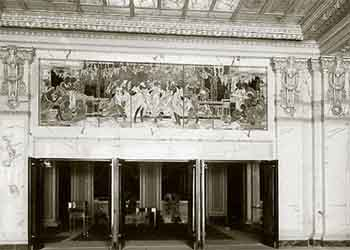 The Tiffany Glass Panel above the entrance doors to the inner lobby of the theatre, as seen from the main building lobby (JPG)