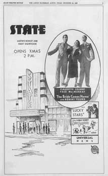 Opening advert appearing in the Austin American-Statesman, 24 December 1935 (JPG)