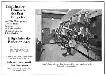 The State Theatre's Projection Booth as shown in an advertisement from the 29th October 1927 edition of <i>Exhibitors Herald</i>, held by the Museum of Modern Art Library in New York and digitized by the Internet Archive (JPG)