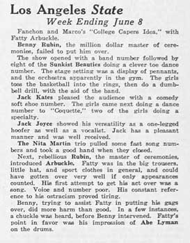 A review of vaudeville at the State from the 16th June 1928 edition of <i>Exhibitors Herald and Moving Picture World</i>, held by the Library of Congress and digitized by the Internet Archive (150KB PDF)