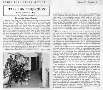 A feature on the state-of-the-art Projection Booth at the State Theatre from the 17th December 1921 edition of <i>Exhibitors Trade Review</i>, digitized by the Internet Archive (780KB PDF)