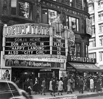 The theatre's new marquee, installed in 1937, as seen on Broadway in 1938, courtesy Los Angeles Public Library (JPG)