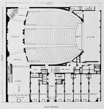 Orchestra-level Plan from <i>Architect and Engineer</i> (July 1928), held by the San Francisco Public Library and digitized by the Internet Archive (5MB PDF)