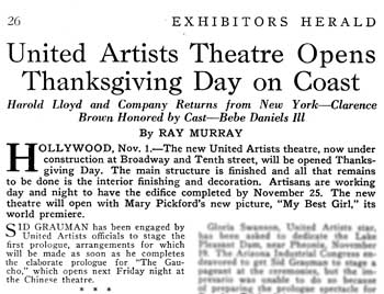 News of theatre opening date from <i>Exhibitors Herald</i> (5 November 1927), held by the Museum of Modern Art Library in New York and scanned online by the Internet Archive (240KB PDF)