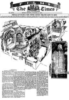 3D sketch and preview of the theatre as printed in the 18th December 1927 edition of the <i>Los Angeles Times</i> (430KB PDF)