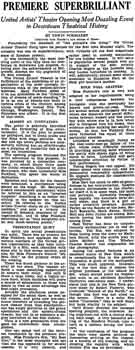 Review of the spectacular gala opening night, as printed in the 28th December 1927 edition of the <i>Los Angeles Times</i> (140KB PDF)
