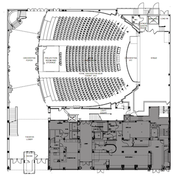Orchestra-level Plan of the renovated theatre courtesy of the theatre's website (430KB PDF)