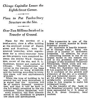 Report of H.L. Gumbiner's plans for the plot of land as reported in the 12th March 1921 edition of the <i>Los Angeles Times</i> (480KB PDF)