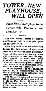 Opening announcement as printed in the 22nd September 1927 edition of the <i>Los Angeles Times</i> (210KB PDF)