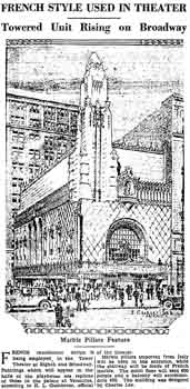 Update on the progress of the Tower Theatre as printed in the 27th September 1927 edition of the <i>Los Angeles Times</i> (130KB PDF)