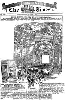 Full-page picture feature, three days ahead of the theatre's official opening, as printed in the 9th October 1927 edition of the <i>Los Angeles Times</i> (PDF)
